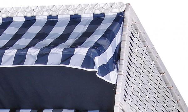 Strandkorb Baltic PE weiß Dessin Karo Blau