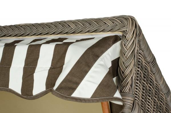 Strandkorb Keitum Mahagoni PE grau Dessin Braun Weiß
