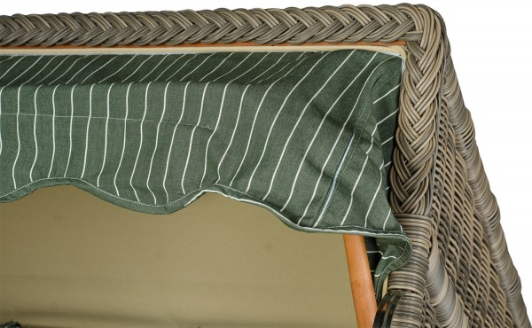 Strandkorb Keitum Mahagoni PE grau Dessin Royal Grün