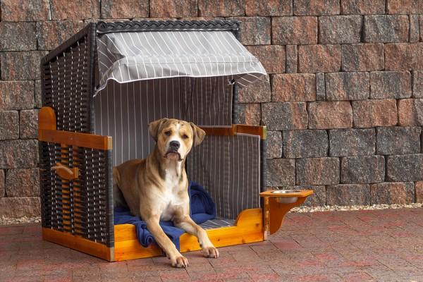 Hundestrandkorb PE beige Dessin Blau Gestreift inkl. Schutzhaube