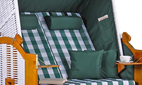 Strandkorb Baltic PE weiß Dessin Karo Grün