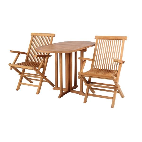 Gartensessel Andover und Tisch Balcony Teak-KOMPLETTSET