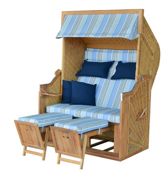 Strandkorb TRENDY PURE Greenline 140XL PE nature Dessin 662 - TEAK