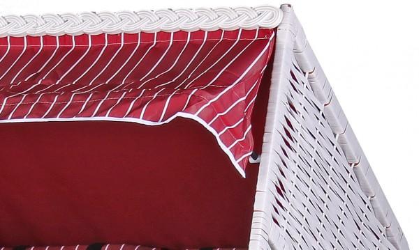 Strandkorb Baltic PE weiß Dessin Royal Rot