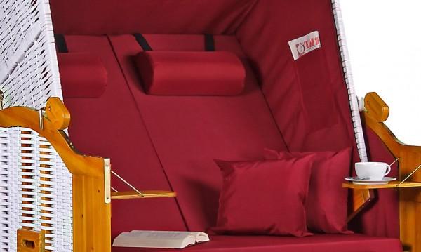 Strandkorb Baltic PE weiß Dessin Uni Rot