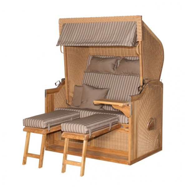 Strandkorb deVries PURE® Nautic Teak PE nature Dessin 122
