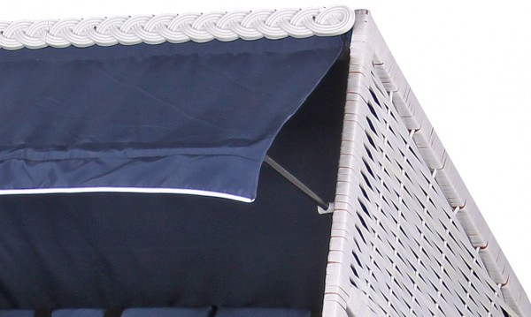Strandkorb Baltic PE weiß Dessin Uni Blau
