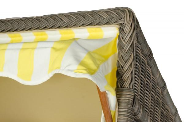 Strandkorb Keitum Mahagoni PE grau Dessin Gelb Weiß