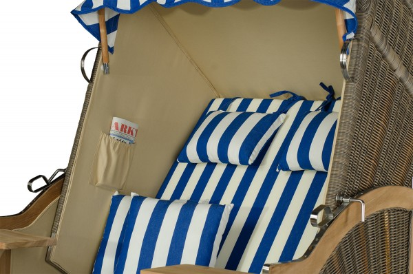 Strandkorb Keitum Teak PE grau Dessin Blau Weiß