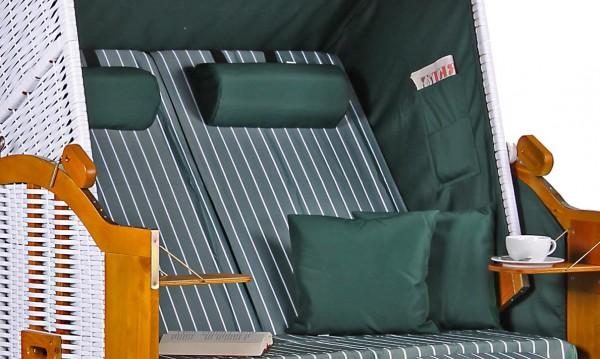 Strandkorb Baltic PE weiß Dessin Royal Grün