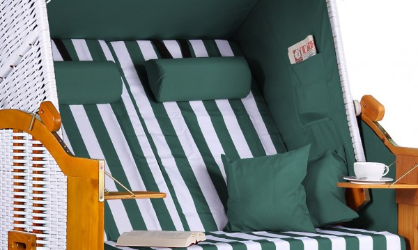 Strandkorb Baltic PE weiß Dessin Grün Weiß