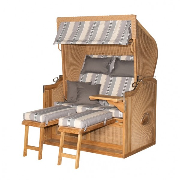 Strandkorb deVries PURE® Nautic Teak PE nature Dessin 663