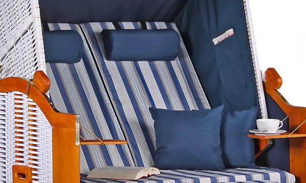 Strandkorb Baltic PE weiß Dessin Beige Blau
