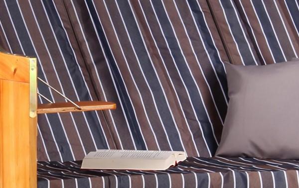 Strandkorb Baltic Dreisitzer PE schwarz Dessin Braun Grau Anthrazit