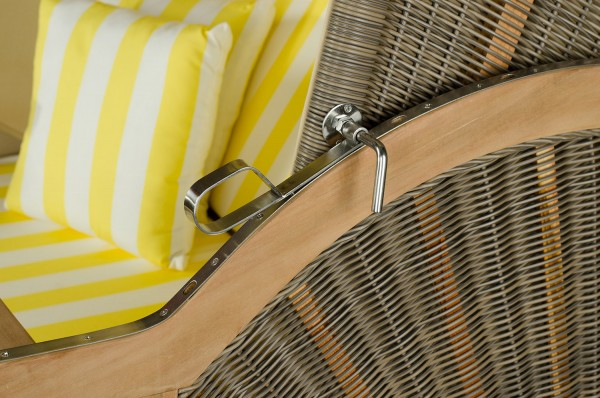 Strandkorb Keitum Teak PE grau Dessin Gelb Weiß