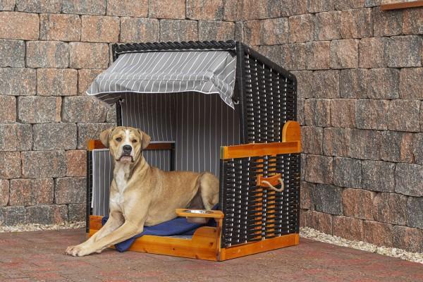 Hundestrandkorb PE schwarz Dessin Grau Gestreift inkl. Schutzhaube