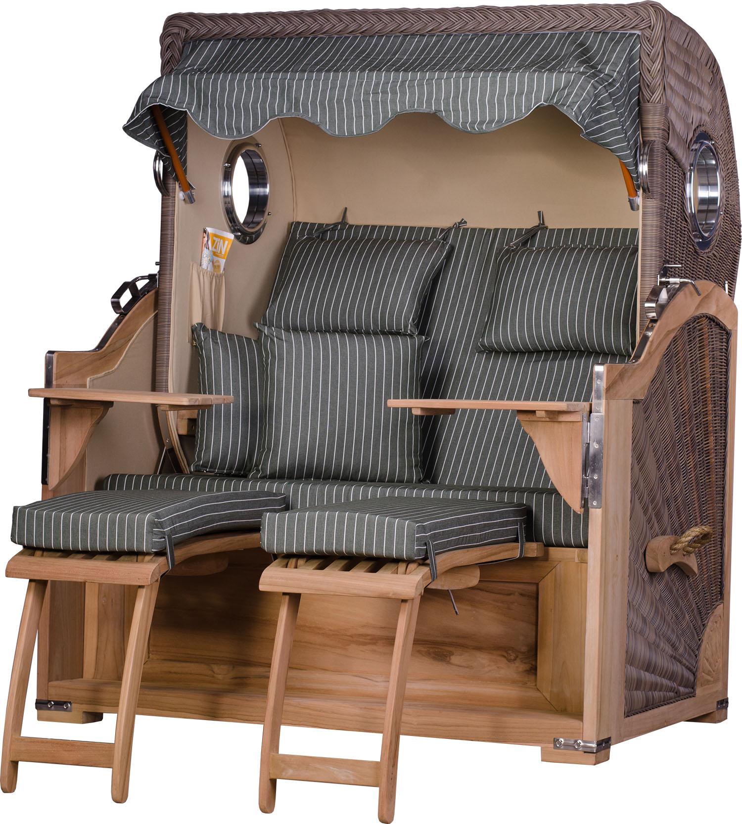 strandkorb kampen teak bullauge pe grau dessin royal. Black Bedroom Furniture Sets. Home Design Ideas