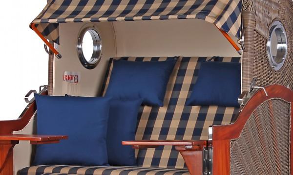Strandkorb Westerland Mahagoni Bullauge PE grey Dessin 507