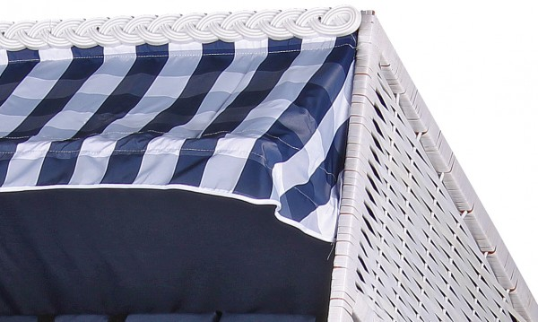 Strandkorb Baltic PE weiß Dessin Uni Karo Blau