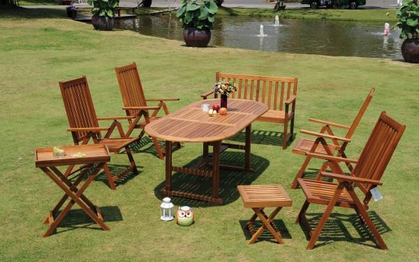 Tischgruppe Grenada FSC-Akazienholz Komplettset