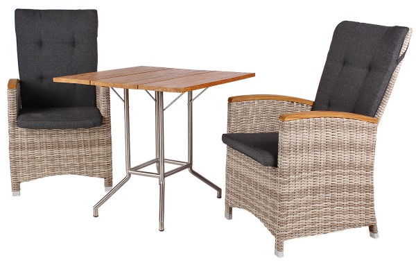 Relaxsessel Siena und Tisch Vancouver Teak-KOMPLETTSET
