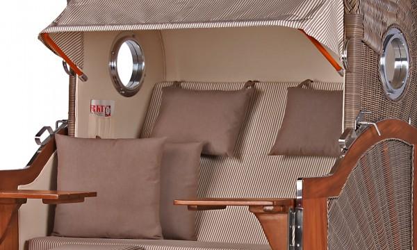Strandkorb Westerland Mahagoni Bullauge PE grey Dessin 510