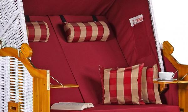 Strandkorb Baltic PE weiß Dessin Uni Karo Rot
