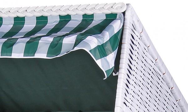 Strandkorb Baltic PE weiß Dessin Uni Karo Grün