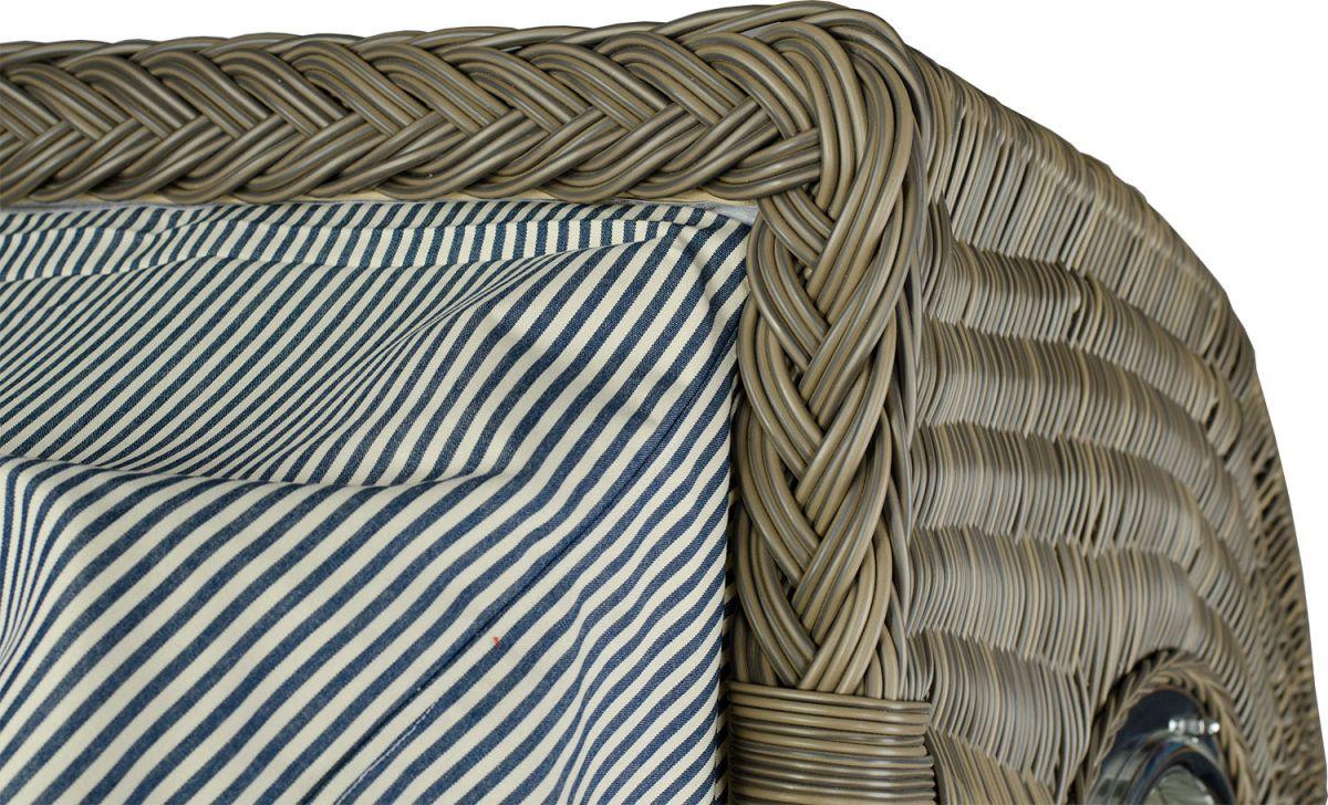 strandkorb kampen teak bullauge pe grau dessin blau champagner ebay. Black Bedroom Furniture Sets. Home Design Ideas