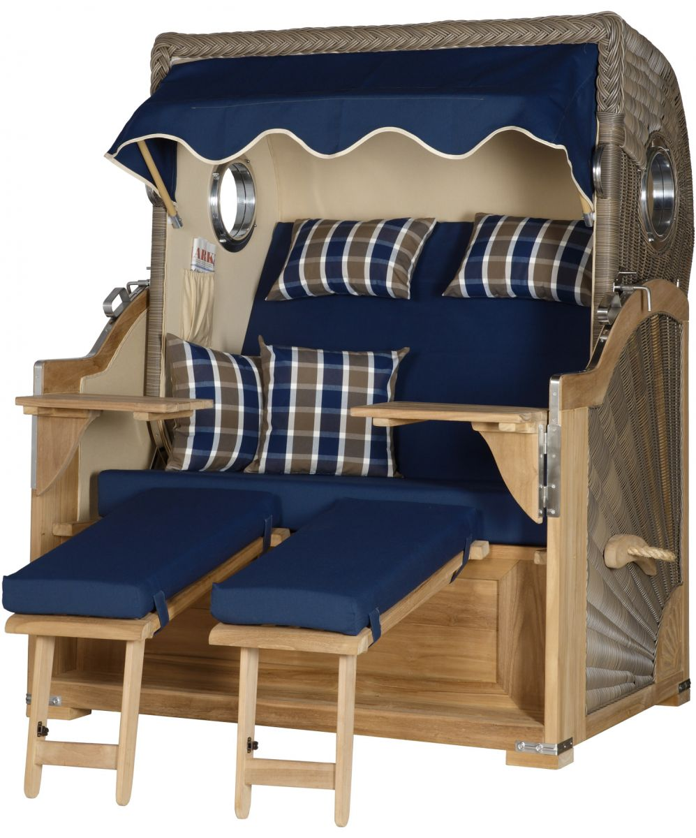 strandkorb kampen teak bullauge pe grau dessin blau tobacco blau ebay. Black Bedroom Furniture Sets. Home Design Ideas